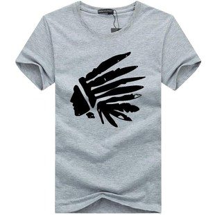 Feathered head Indian T shirt Men Cotton Shorts Shirts T恤
