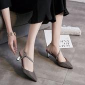 时尚 2018包头浅口亮片凉鞋 气质女鞋 夏季新款 女中跟细带尖头高跟鞋