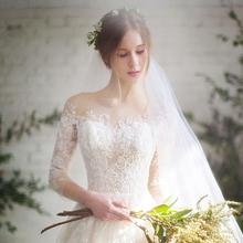 一字肩轻主婚纱2019新款新娘结婚超仙梦幻森系法式简约星空出门纱