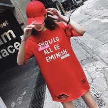 开学季女上衣学生女神韩版百搭BF韩国SZ中长款短袖T恤宽松显瘦