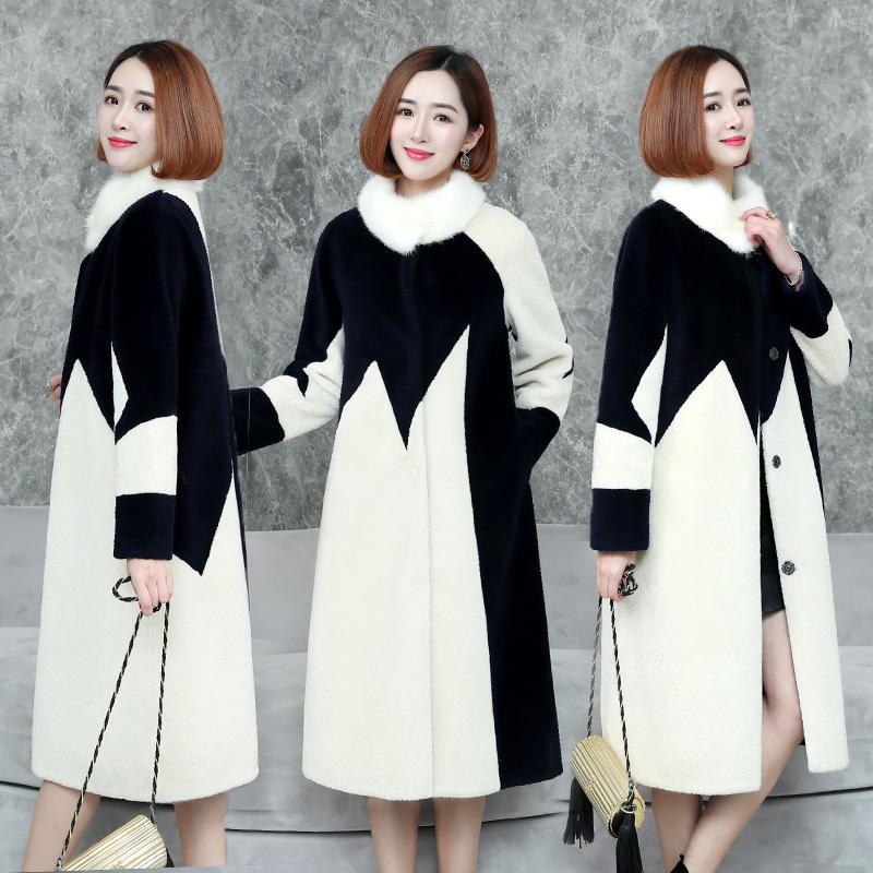 2018反季冬装新款时尚皮草貂绒气质显瘦长款羊剪绒大衣韩版外套女图片
