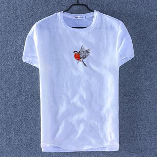 夏中国风亚麻短袖t恤男士刺绣花圆领棉麻衣服休闲半袖男生潮T体恤