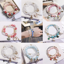 Crystal bracelet, female, Korean version, simple, sweet, fresh and pink, student, Sen, girlfriends, hand strings, transshipment, Peach Blossom Hand decoration.