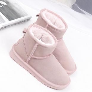 韩版冬靴牛皮雪地靴女短靴可爱套筒女靴子粉红色短筒靴子加厚棉鞋