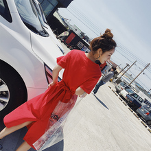 红色t恤连衣裙短袖2019初秋新款小个子赫本复古裙高腰裙子中长款