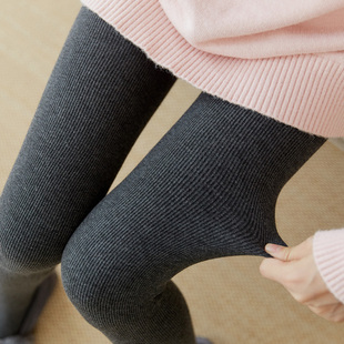 2019新款打底裤加绒加厚灰色踩脚保暖螺纹竖条纹棉裤连脚女外穿