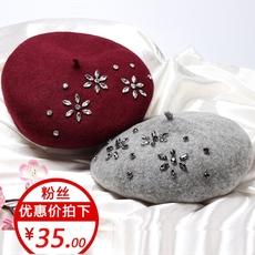 贝雷帽女秋冬季新款水钻羊毛呢帽子时尚百搭英伦复古韩版画家帽潮