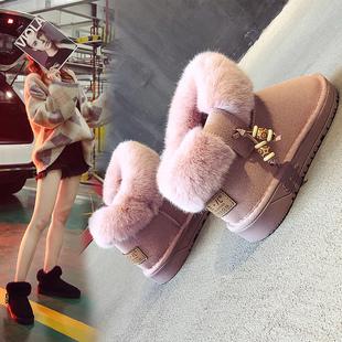 雪地靴女鞋短筒冬季保暖棉鞋学生休闲加绒加厚可爱平底防滑女靴
