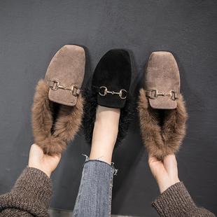 2018秋冬新款平底加绒兔毛女鞋子一脚蹬懒人网红毛毛鞋女外穿棉鞋