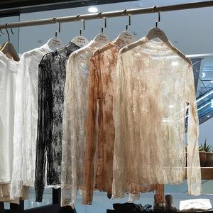 时尚高领百搭透明蕾丝打底衫女秋冬新款内搭性感网纱长袖超仙上衣打底衫蕾丝