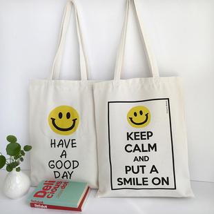 韩国帆布袋女包单肩手提文艺学生斜挎包笑脸印花环保购物袋定做