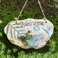 饰入户花园庭院欢迎挂牌园艺杂货 welcome水泥挂板 美式家居壁挂装