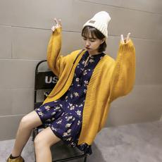 黑桃y定制 韩国复古粗棒针大袖子宽松慵懒随性厚实毛衣开衫女外套