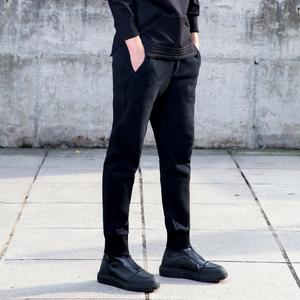 休闲裤男秋冬季加绒加厚男士哈伦裤子运动裤长裤修身小脚束脚卫裤
