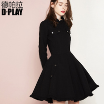 连衣裙木耳边口袋修身 DPLAY欧美黑色小立领长袖 A裙小黑裙礼服