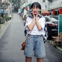 Faithful Dog Little Eight Pear-shaped Self-made Summer and Han Version 2019 Baitao High-waist and Loose-legged Jeans Shorts College Wind Girl