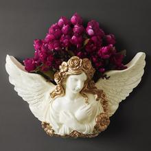 欧式美女天使壁挂花瓶壁饰花插花艺套装 家居酒吧会所墙壁上装 饰品