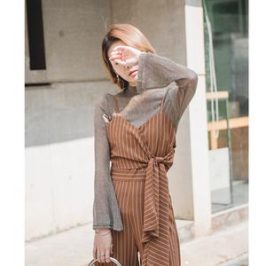 MOMO 复古半高领纹理褶皱长袖T恤春纯色金丝透视雪纺上衣打底衫女
