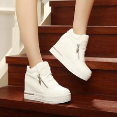 2016秋天新款双拉链隐形内增高女鞋8cm高帮鞋女运动鞋学生休闲鞋