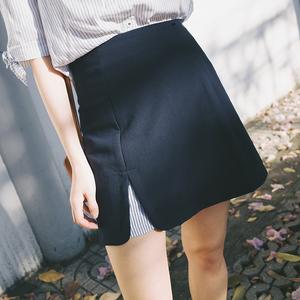 空气猫|夏季自制 清新甜美 拼接条纹藏青半身裙女a字短裙