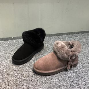 雪地靴女 撤柜断码2018冬季棉里时尚百搭毛口平底圆头休闲棉鞋