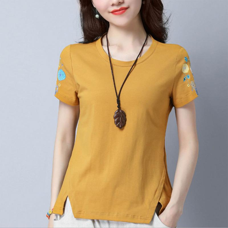 中青年40-50岁妈妈装夏装全棉汗衫宽松款服短袖T恤女韩版印花舒适图片