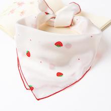 秋冬季宝宝草莓真丝小方巾女童桑蚕丝围巾儿童百搭丝巾男童三角巾