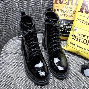欧美秋冬英伦马丁靴漆皮女靴布洛克女鞋粗跟厚底系带短靴女机车靴