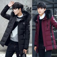 2017冬装羽绒服男士毛领中长款外套加厚保暖修身韩版男羽绒衣