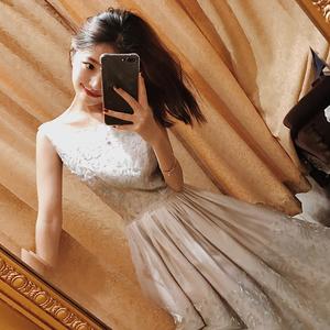 大喜自制 复古重工网纱刺绣欧根纱绣花春夏新款连衣裙无袖长短款连衣裙