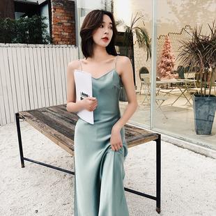 LK2019春夏季真丝吊带裙长短款睡衣性感修身内搭连衣裙裙子女