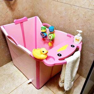 家用<span class=H>洗澡</span><span class=H>桶</span><span class=H>儿童</span>可折叠浴盆浴缸婴幼儿婴儿小孩<span class=H>环保</span>大号幼童可坐加