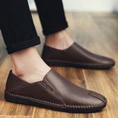 男士休闲皮鞋男真皮舒适透气英伦手工小皮鞋软底软面皮豆豆鞋子男