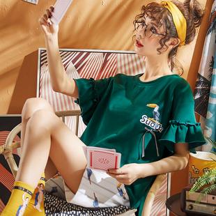 睡衣夏季薄款女士短袖纯棉夏天韩版可爱甜美公主风两件套装家居服