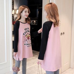 秋季2018新款韩版宽松大码中长款拼色纯棉长袖T恤女打底衫上衣服