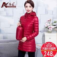 轻薄羽绒服女中长款2017新款韩版潮修身中年妈妈冬装中老年女装