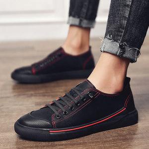 2018新<span class=H>款</span>春季板鞋<span class=H>男生</span>港仔风英伦<span class=H>皮鞋</span><span class=H>潮</span>流韩版男士学生休闲鞋真皮