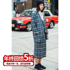 设计师定制 2017春装新款极简弧线编织风西装外套中长款大衣女
