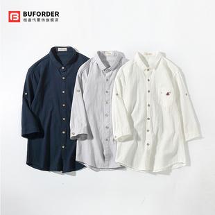 夏季男亚麻七分袖衬衫青少年修身薄款学生潮流帅气中袖棉麻料寸衣