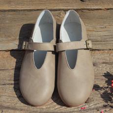 21DO打蜡牛皮单鞋 文艺复古森林系森女鞋 真皮平底一字带手工鞋H6