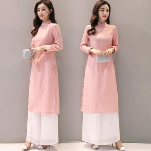 春装改良复古棉麻连衣裙中长款两件套套装旗袍中国风茶服女