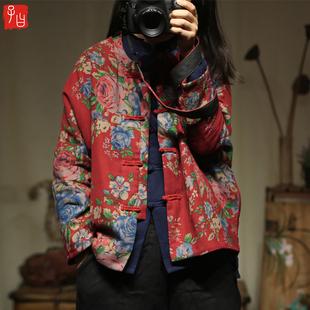 原创中国风中式复古棉质大印花加棉保暖棉袄立领宽松民族花色棉衣