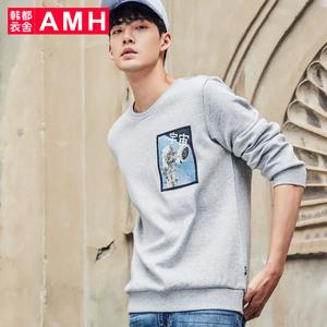 AMH韩版男装冬款2017新款圆领套头衫休闲长袖T恤PA8003薬
