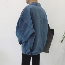 日系个性刺绣宽松落肩男士水洗夹克衫春装韩版青少年牛仔衣潮外套