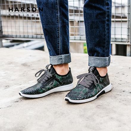 哈森 2018年春季新品时尚英伦休闲低跟系带运动鞋男MS85806
