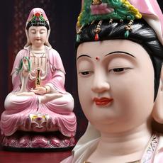 德化陶瓷彩绘观世音菩萨佛像 镇宅家居供奉保平安观音像开光摆件
