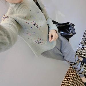2016秋冬韩版时尚羊毛衫打底羊绒针织衫半高领加厚短款毛衣女套头羊绒衫女