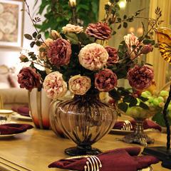 光影居 美克美家欧式牡丹整体花艺 仿真花 假花 餐桌花 茶几花