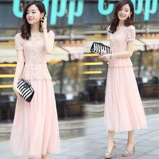 韩版浅兰色长裙子修身气质夏天 显瘦雪纺白色连衣裙夏装女两件套