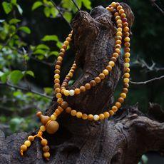男女式纯天然老蜜色琥珀蜜蜡原矿108颗佛珠葫芦手链串项链浮盐水